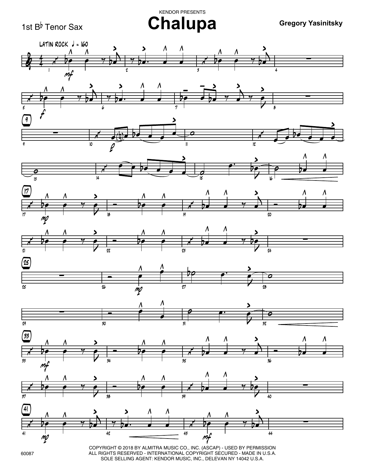 Gregory Yasinitsky Chalupa - 1st Tenor Saxophone sheet music preview music notes and score for Jazz Ensemble including 3 page(s)
