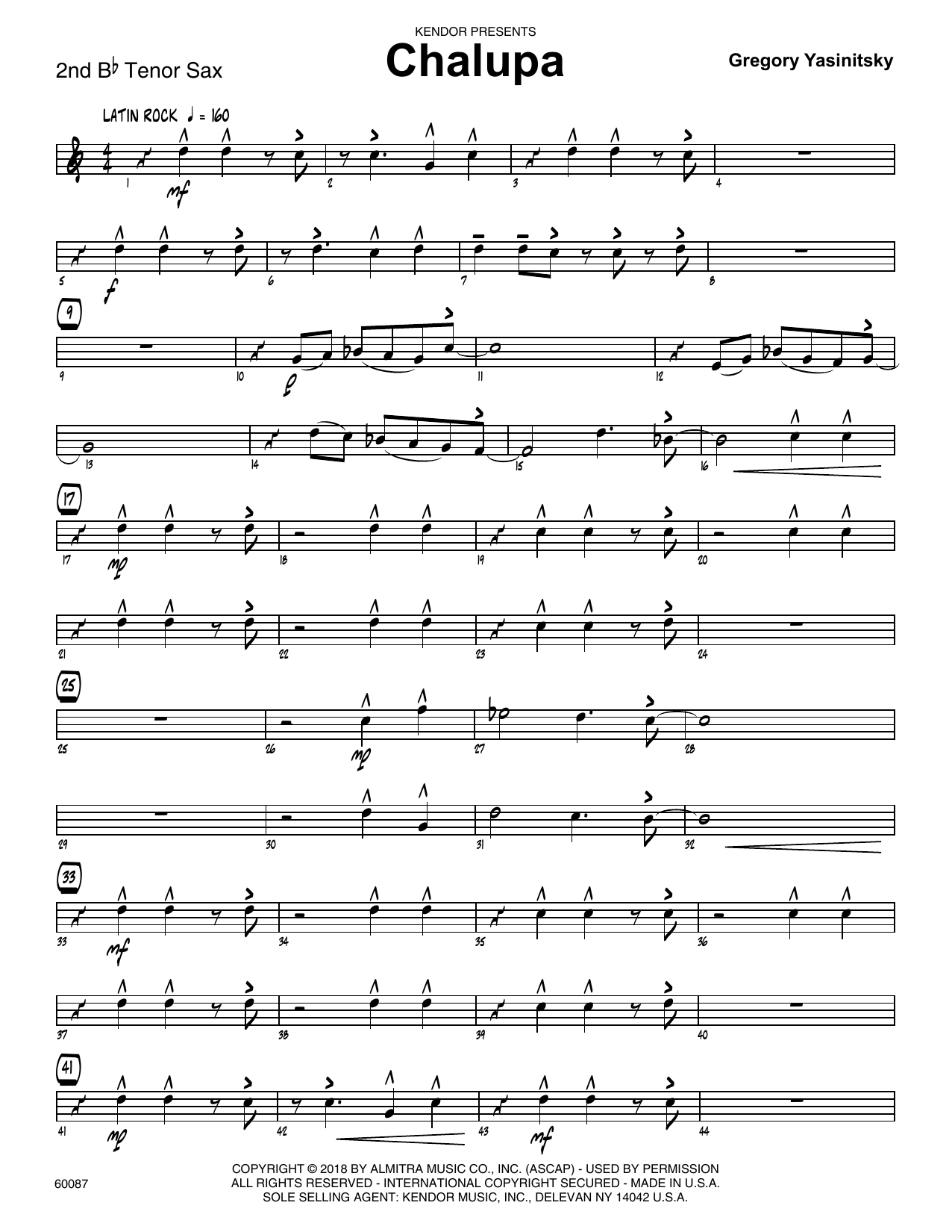 Gregory Yasinitsky Chalupa - 2nd Bb Tenor Saxophone sheet music preview music notes and score for Jazz Ensemble including 3 page(s)