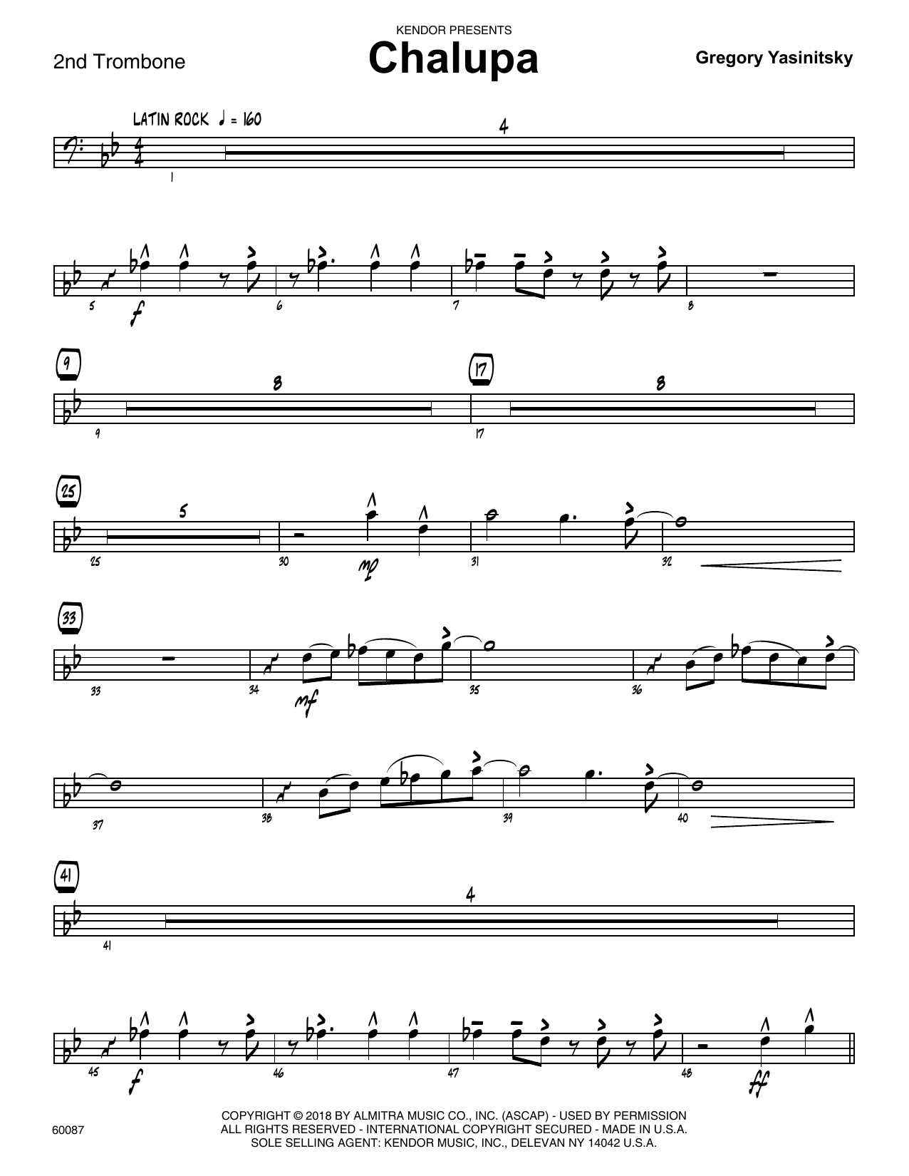Gregory Yasinitsky Chalupa - 2nd Trombone sheet music preview music notes and score for Jazz Ensemble including 3 page(s)