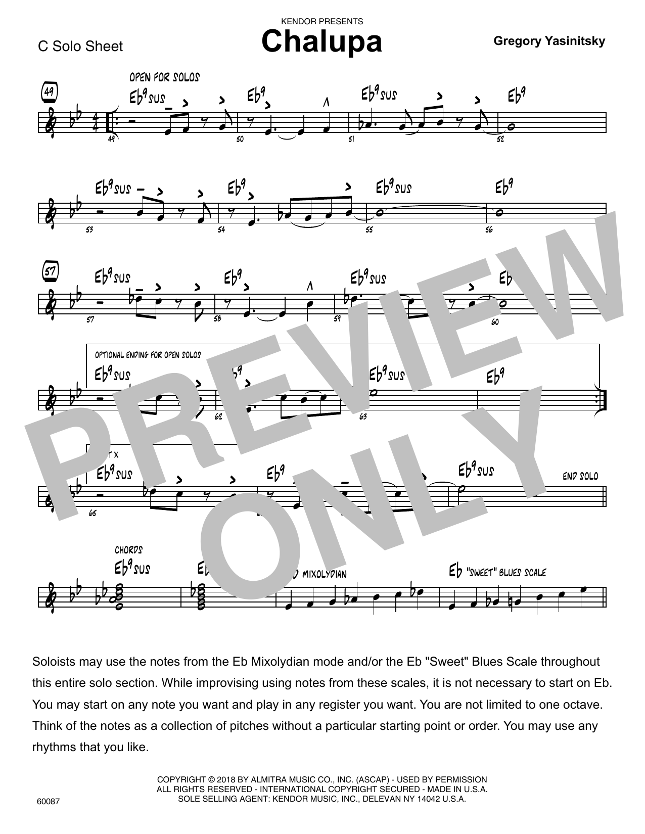 Gregory Yasinitsky Chalupa - C Solo Sheet sheet music preview music notes and score for Jazz Ensemble including 1 page(s)