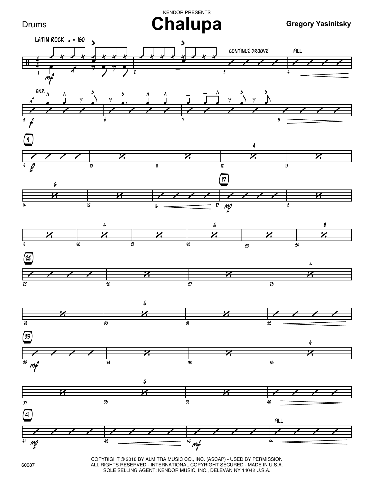 Gregory Yasinitsky Chalupa - Drum Set sheet music preview music notes and score for Jazz Ensemble including 3 page(s)