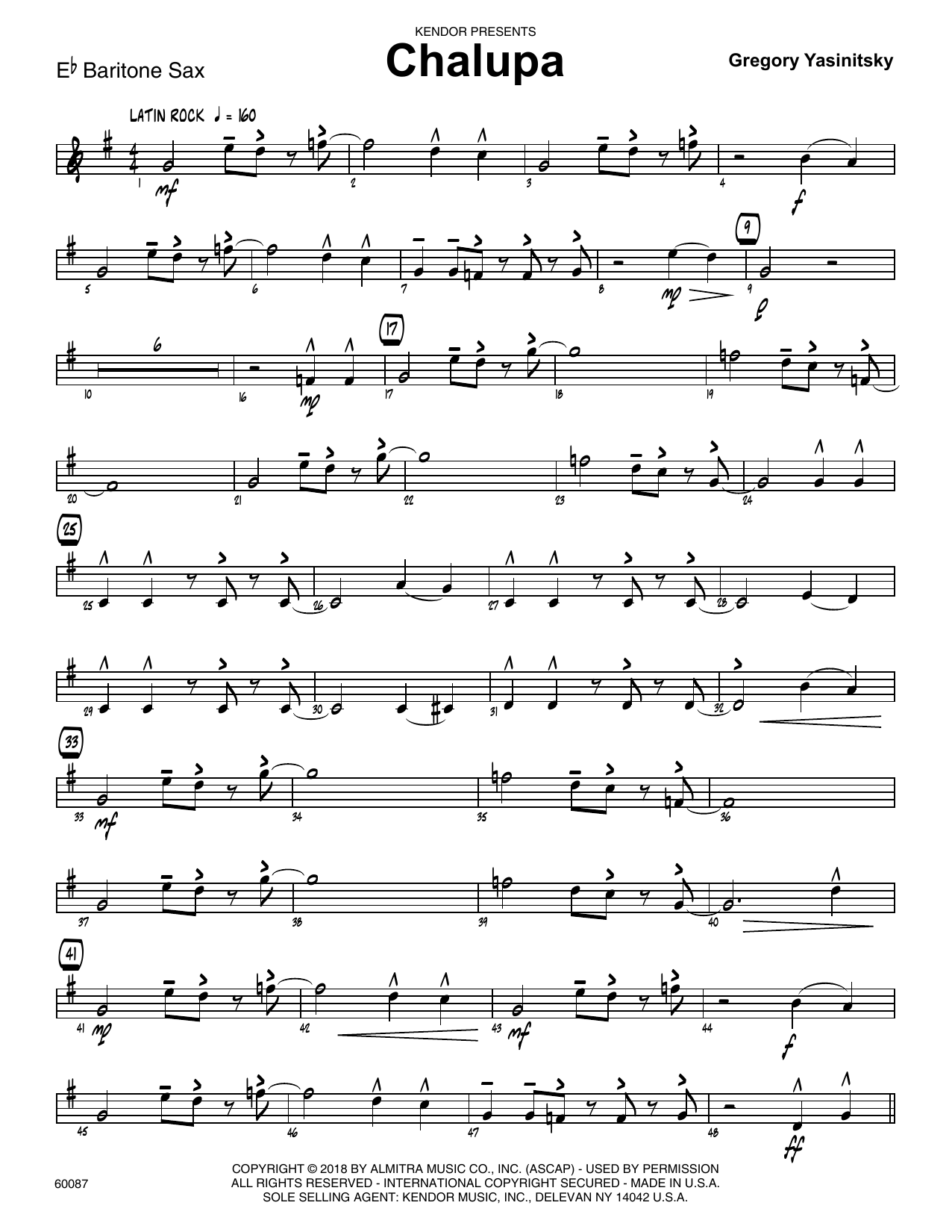 Gregory Yasinitsky Chalupa - Eb Baritone Saxophone sheet music preview music notes and score for Jazz Ensemble including 3 page(s)