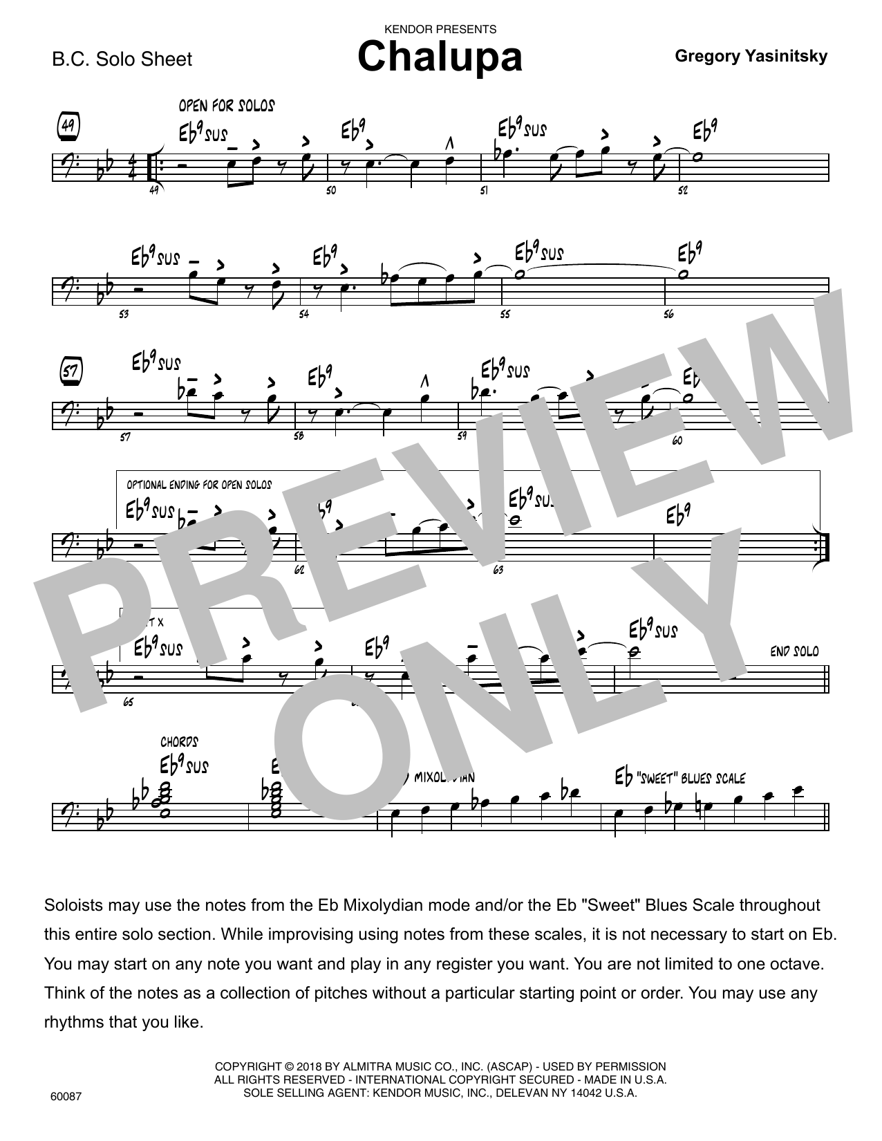 Gregory Yasinitsky Chalupa - Sample Solo - Bass Clef Instr. sheet music preview music notes and score for Jazz Ensemble including 1 page(s)
