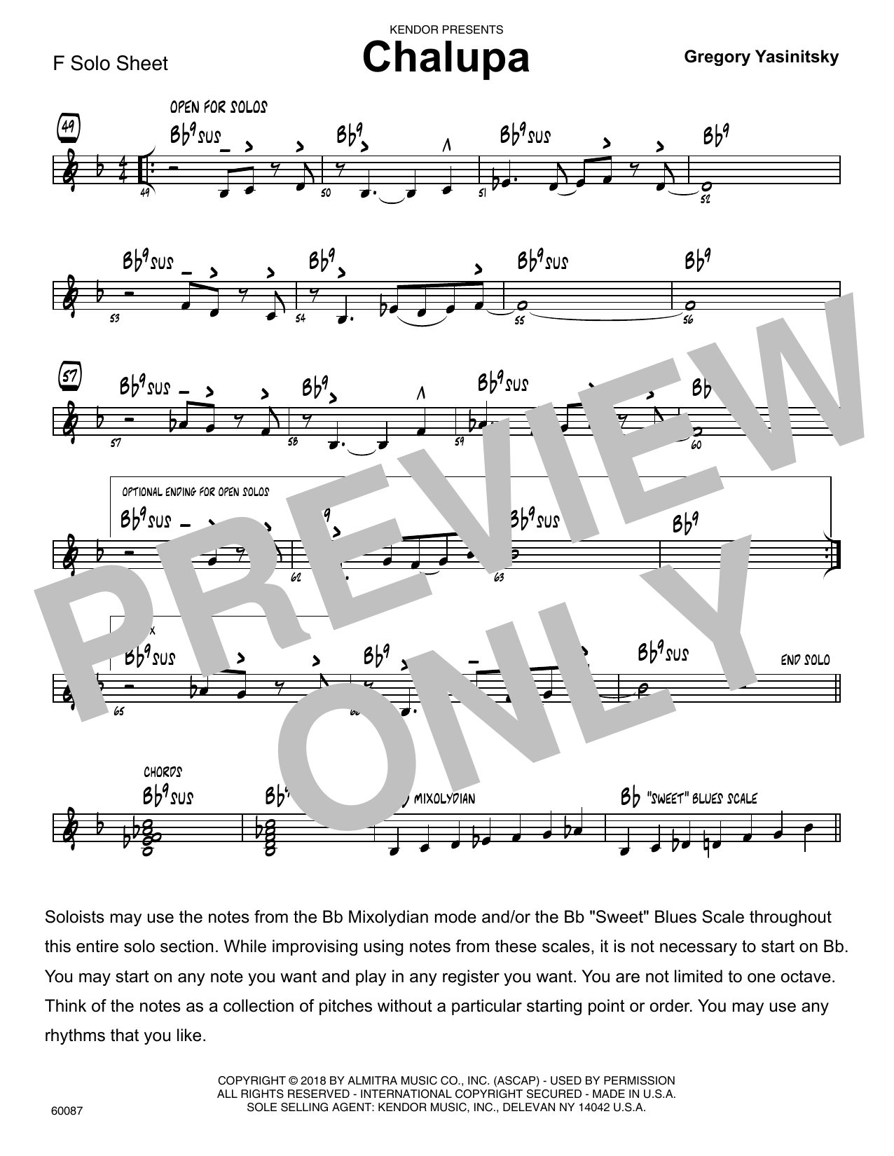 Gregory Yasinitsky Chalupa - Solo Sheet for F Instruments sheet music preview music notes and score for Jazz Ensemble including 1 page(s)