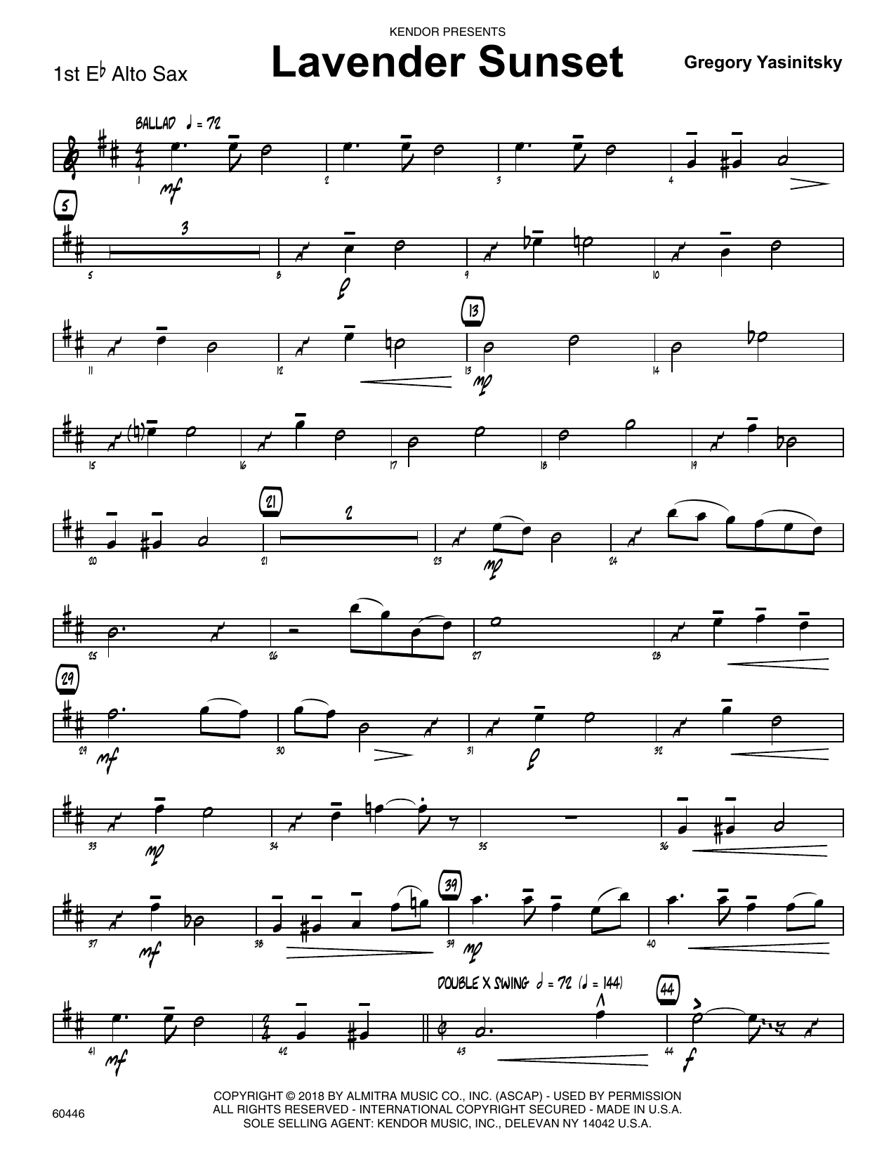 Gregory Yasinitsky Lavender Sunset - 1st Eb Alto Saxophone sheet music preview music notes and score for Jazz Ensemble including 2 page(s)