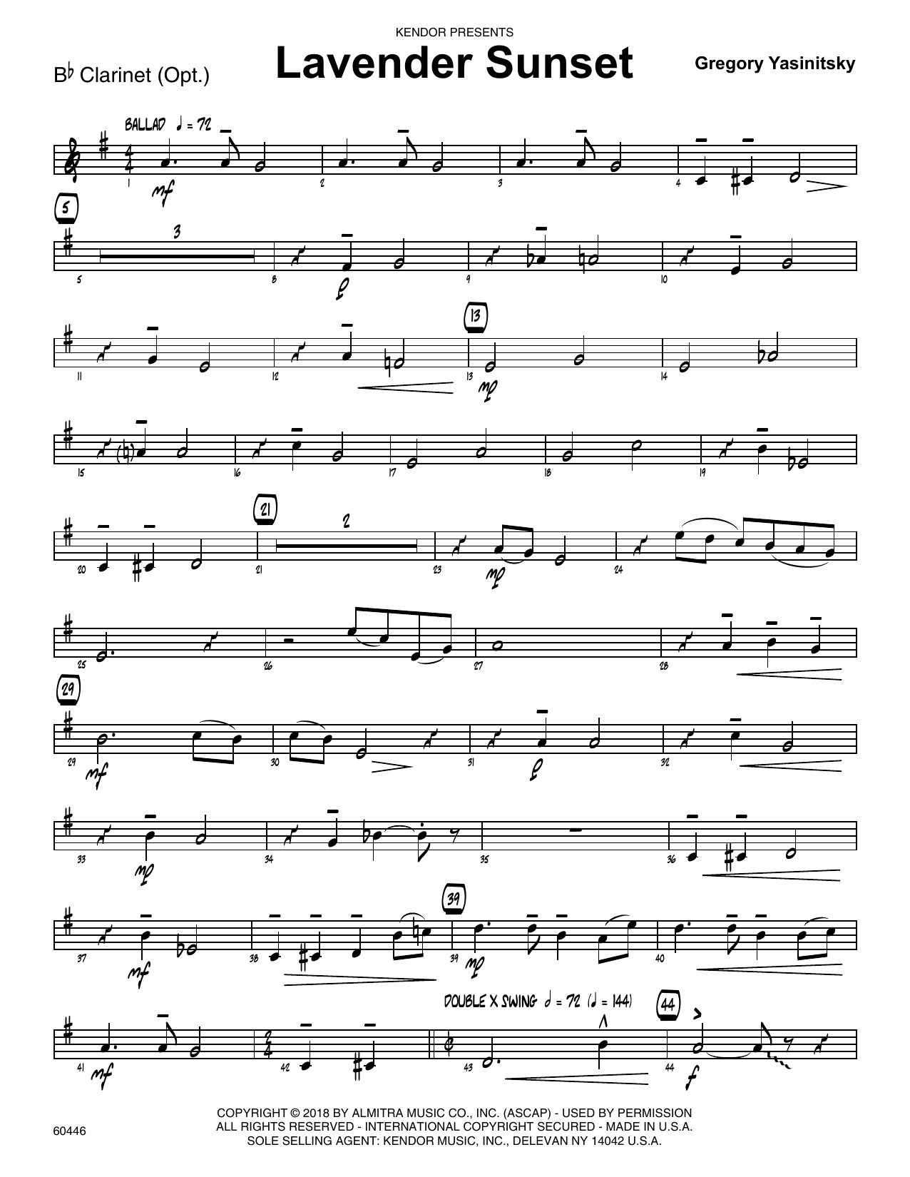 Gregory Yasinitsky Lavender Sunset - Bb Clarinet sheet music preview music notes and score for Jazz Ensemble including 2 page(s)