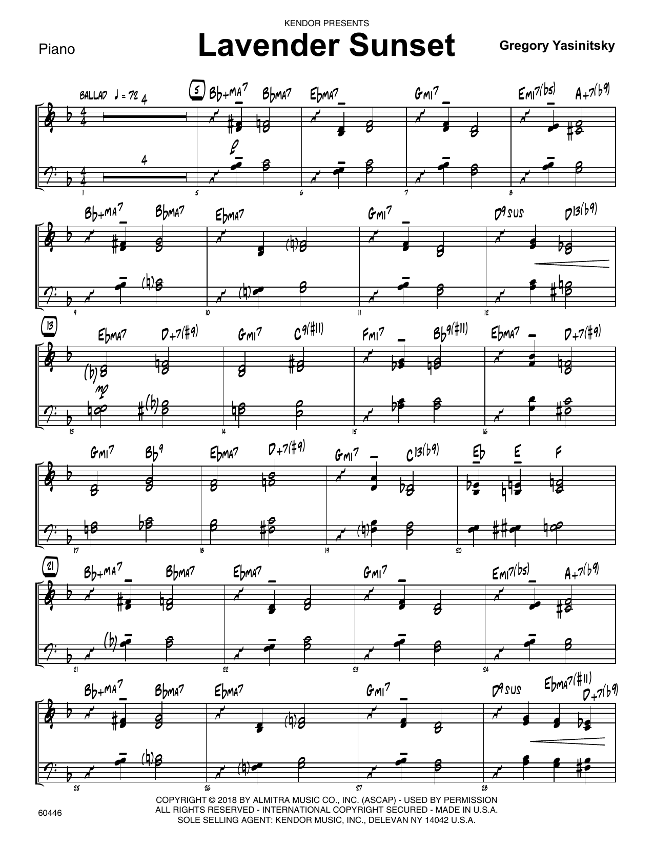 Gregory Yasinitsky Lavender Sunset - Piano sheet music preview music notes and score for Jazz Ensemble including 3 page(s)