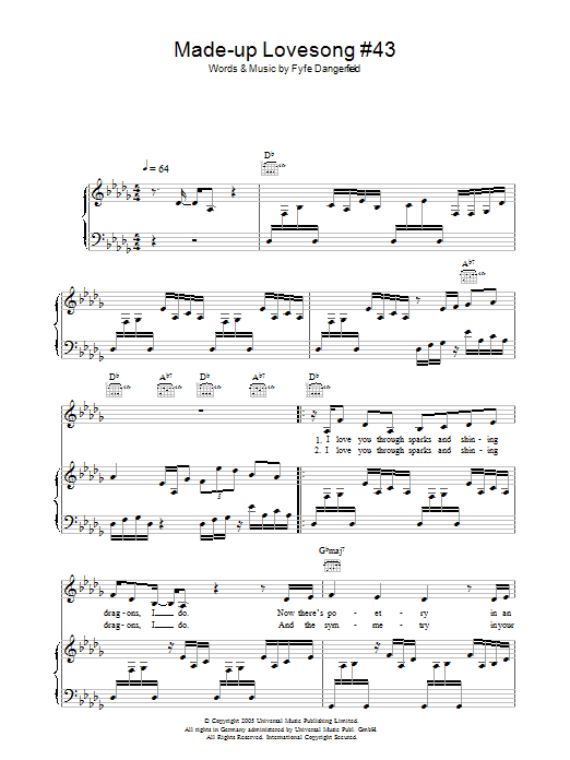 Guillemots Made Up Love Song #43 sheet music preview music notes and score for Piano, Vocal & Guitar including 6 page(s)