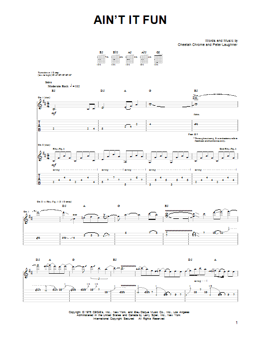 Guns N' Roses Ain't It Fun sheet music notes and chords
