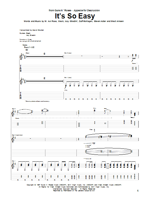Guns N' Roses It's So Easy sheet music preview music notes and score for Guitar Tab including 10 page(s)