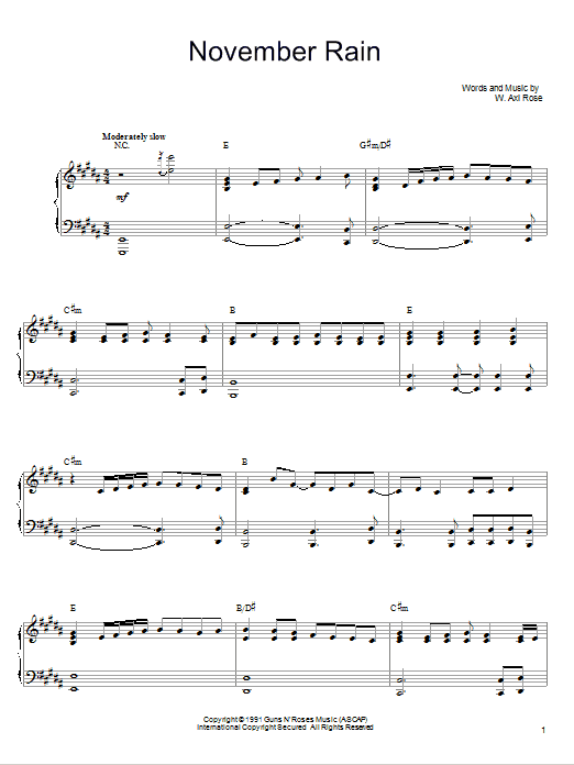 Download Guns N' Roses 'November Rain' Digital Sheet Music Notes & Chords and start playing in minutes
