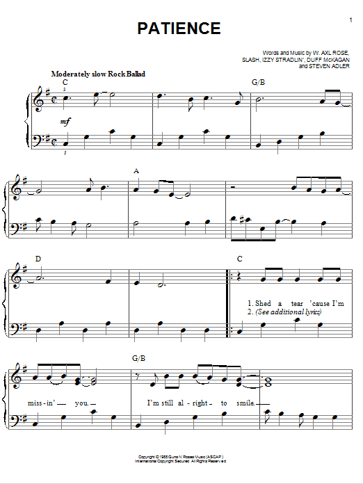 Guns N' Roses Patience sheet music preview music notes and score for Guitar Tab including 4 page(s)