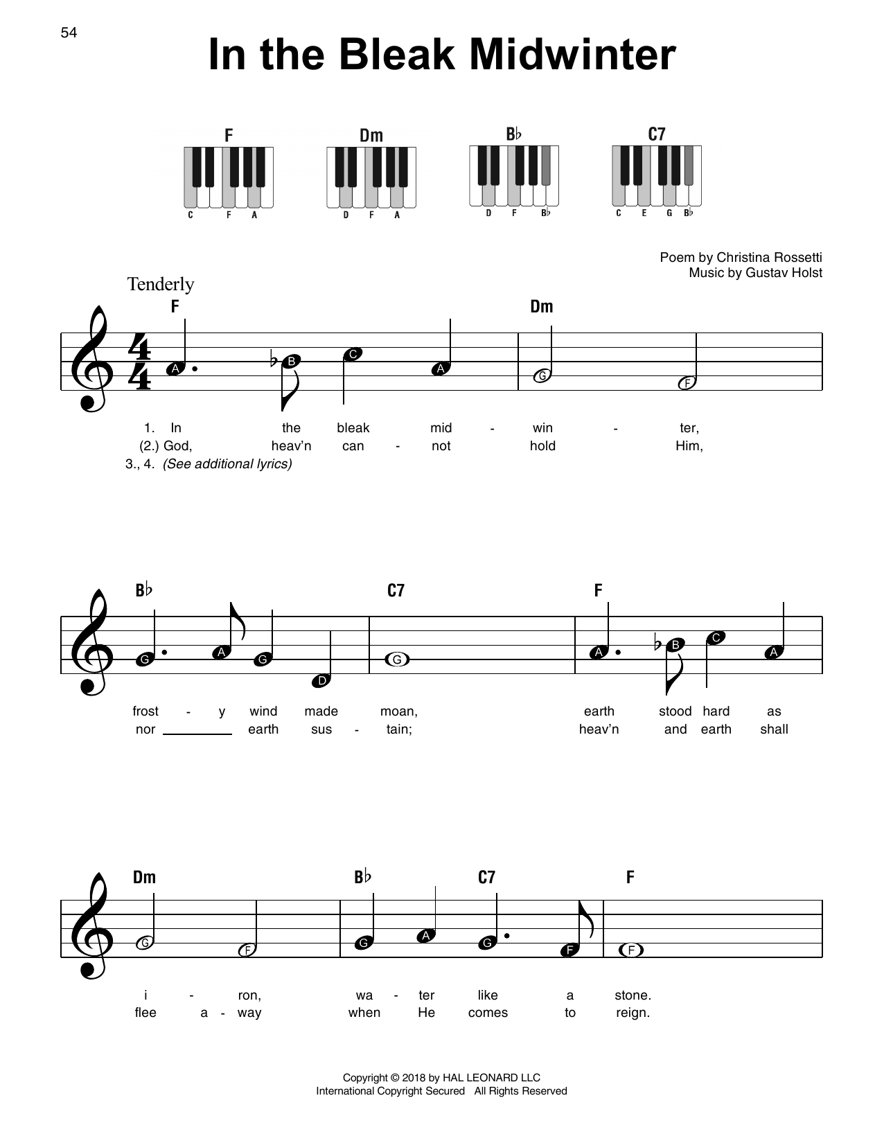 Download Gustav Holst 'In The Bleak Midwinter' Digital Sheet Music Notes & Chords and start playing in minutes