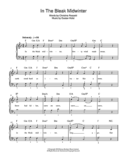 Gustav Holst In The Bleak Midwinter sheet music preview music notes and score for Piano, Vocal & Guitar (Right-Hand Melody) including 2 page(s)
