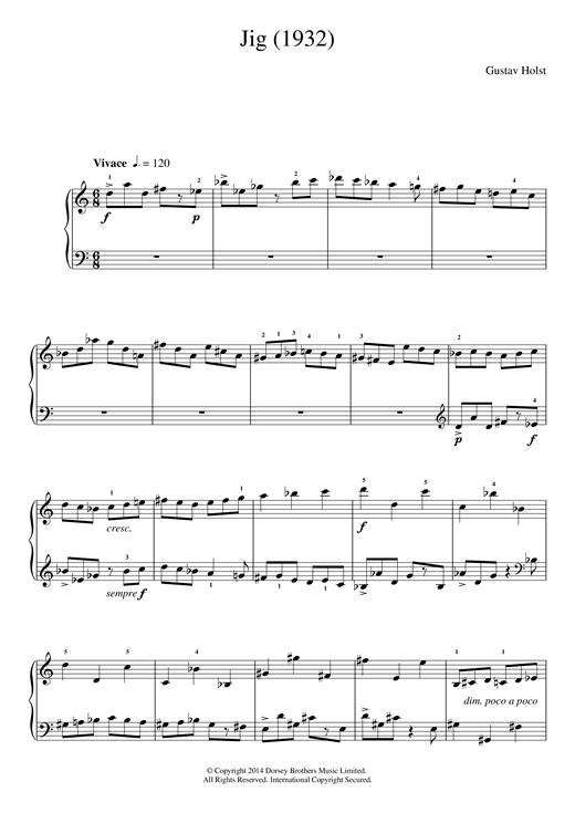 Gustav Holst Jig (1932) sheet music notes and chords
