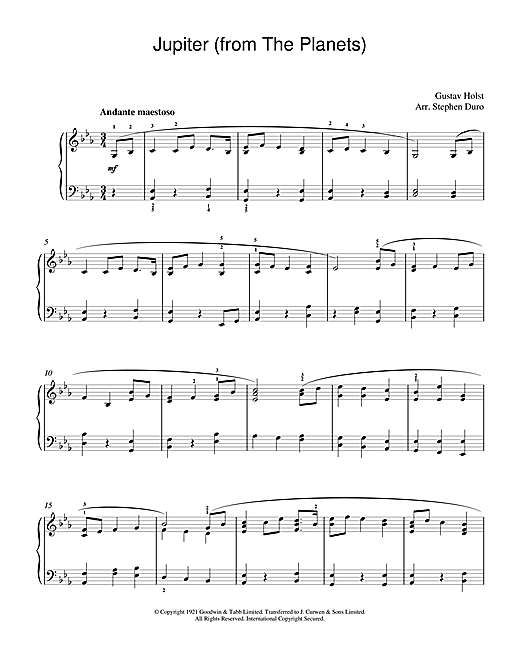 Download Gustav Holst 'Jupiter (from The Planets, Op.32)' Digital Sheet Music Notes & Chords and start playing in minutes