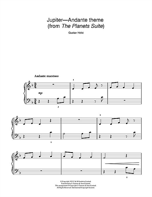 Download Gustav Holst 'Jupiter (from The Planets Op. 32)' Digital Sheet Music Notes & Chords and start playing in minutes