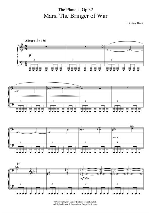 Download Gustav Holst 'The Planets, Op. 32: Mars, the Bringer of War' Digital Sheet Music Notes & Chords and start playing in minutes
