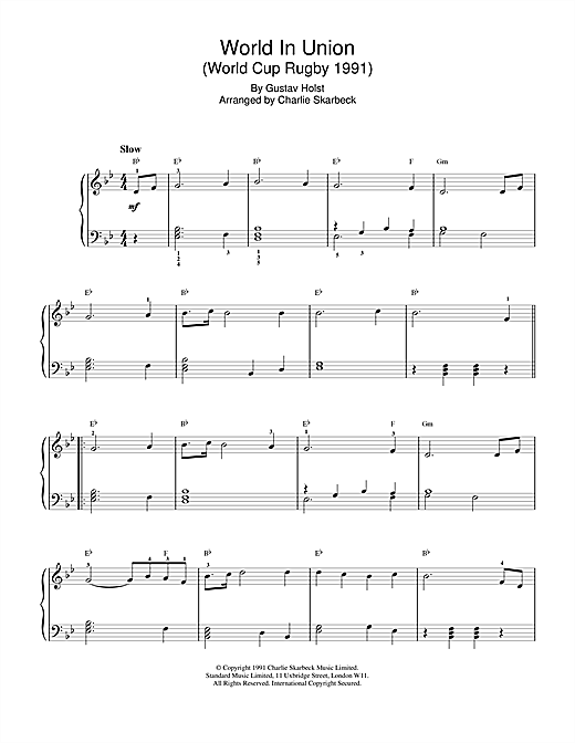 Gustav Holst World In Union sheet music notes and chords