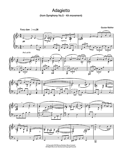 Download Gustav Mahler 'Adagietto from Symphony No.5 (4th Movement)' Digital Sheet Music Notes & Chords and start playing in minutes