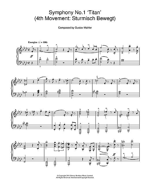 Gustav Mahler Symphony No.1 'Titan' (4th Movement: Sturmisch Bewegt) sheet music notes and chords