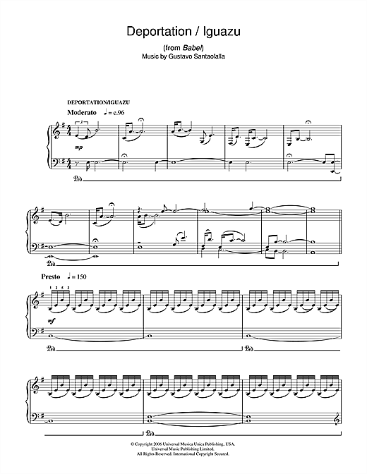 Download Gustavo Santaolalla 'Deportation/Iguazu (from Babel)' Digital Sheet Music Notes & Chords and start playing in minutes