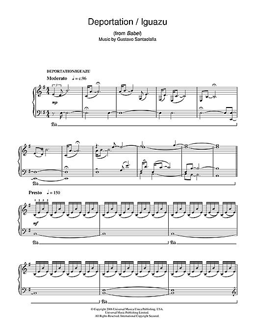 Gustavo Santaolalla Deportation/Iguazu (from Babel) sheet music notes and chords