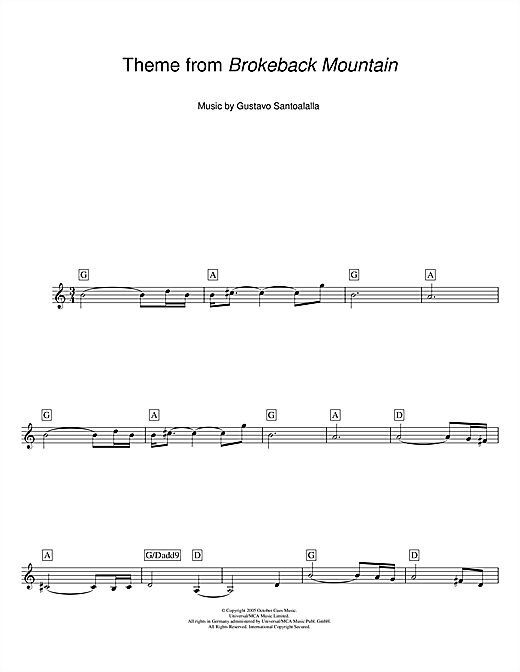 Download Gustavo Santoalalla 'Theme from Brokeback Mountain' Digital Sheet Music Notes & Chords and start playing in minutes