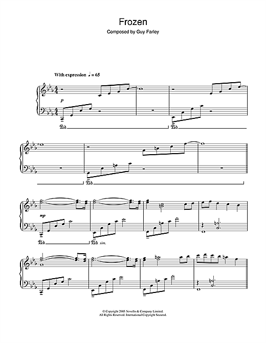 Download Guy Farley 'Frozen (from 'Cashback')' Digital Sheet Music Notes & Chords and start playing in minutes