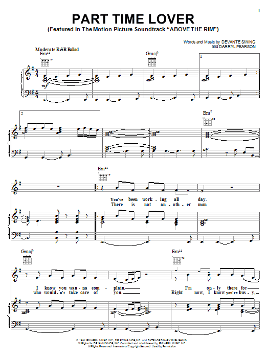 H-Town Part Time Lover (from Above The Rim) sheet music notes and chords