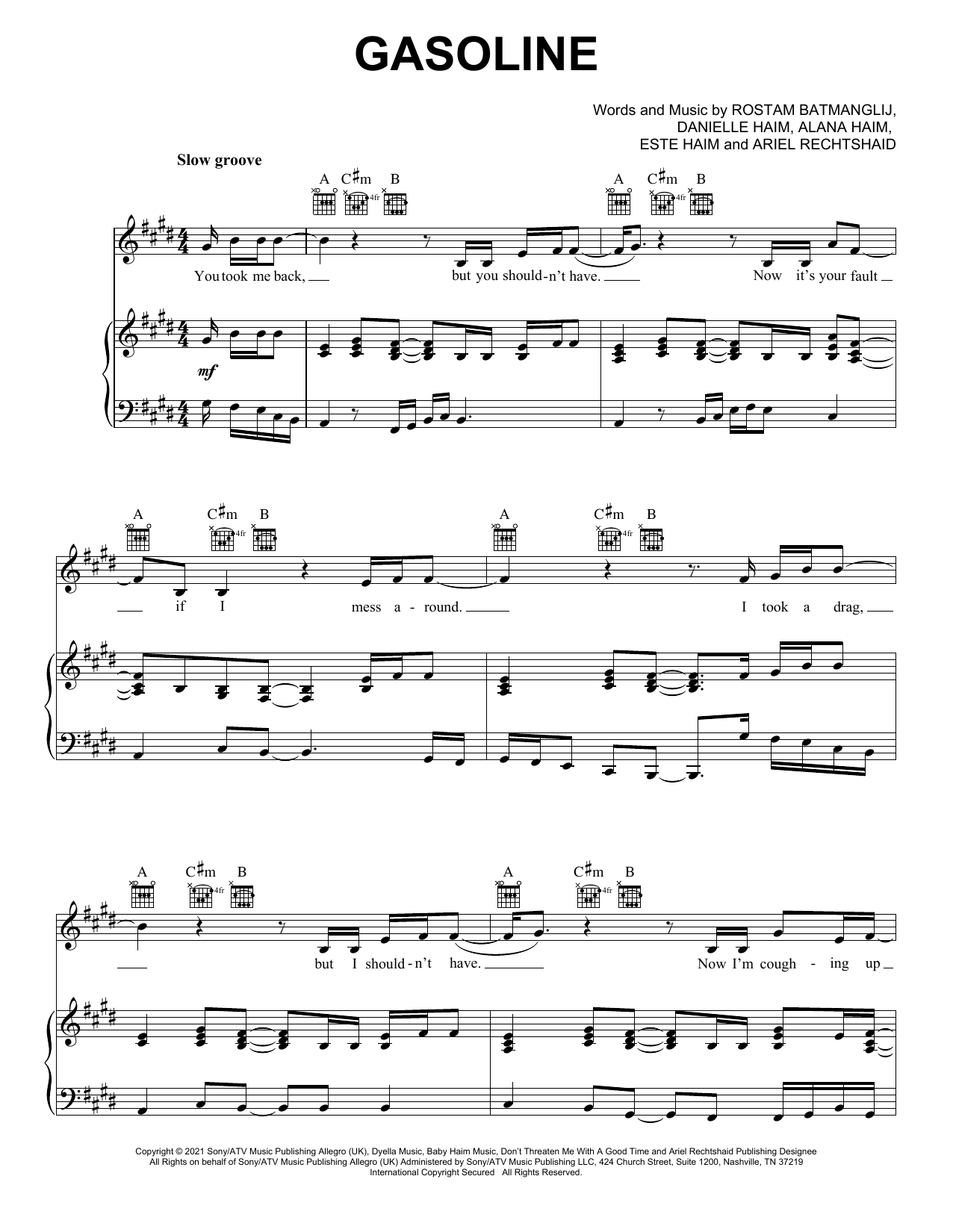 Haim Gasoline (feat. Taylor Swift) sheet music preview music notes and score for Piano, Vocal & Guitar (Right-Hand Melody) including 6 page(s)