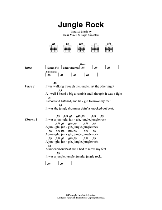 Hank Mizell Jungle Rock sheet music preview music notes and score for Lyrics & Chords including 3 page(s)