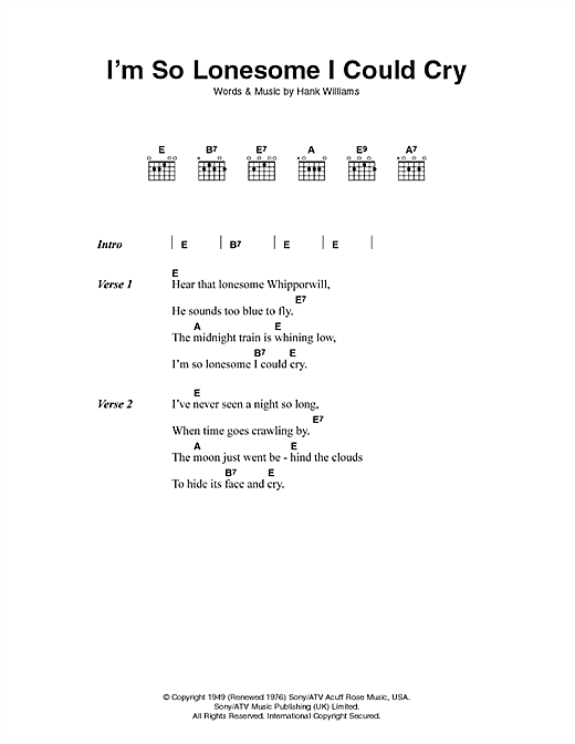 Hank Williams I'm So Lonesome I Could Cry sheet music preview music notes and score for Guitar Tab including 2 page(s)