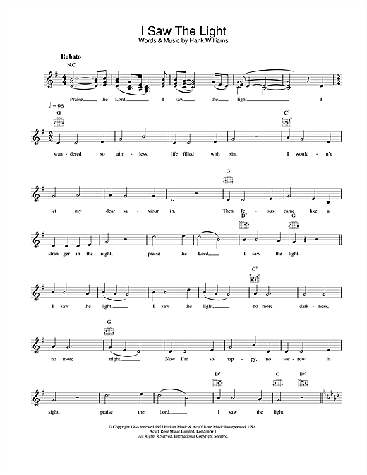 Hank Williams I Saw The Light sheet music preview music notes and score for Super Easy Piano including 2 page(s)