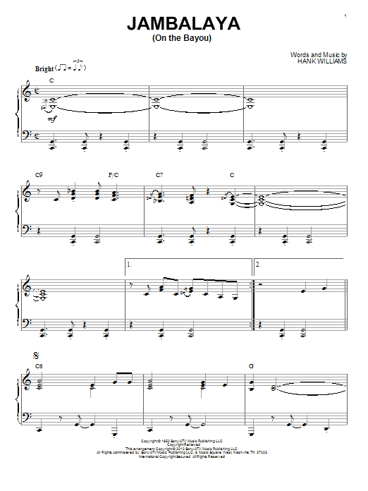 Download Hank Williams 'Jambalaya (On The Bayou)' Digital Sheet Music Notes & Chords and start playing in minutes