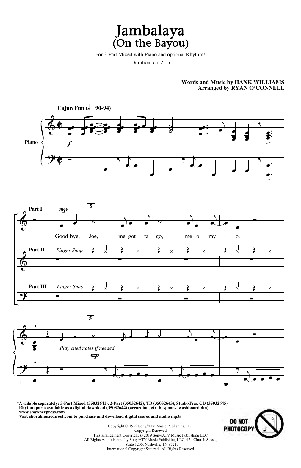 Download Hank Williams 'Jambalaya (On The Bayou) (arr. Ryan O'Connell)' Digital Sheet Music Notes & Chords and start playing in minutes