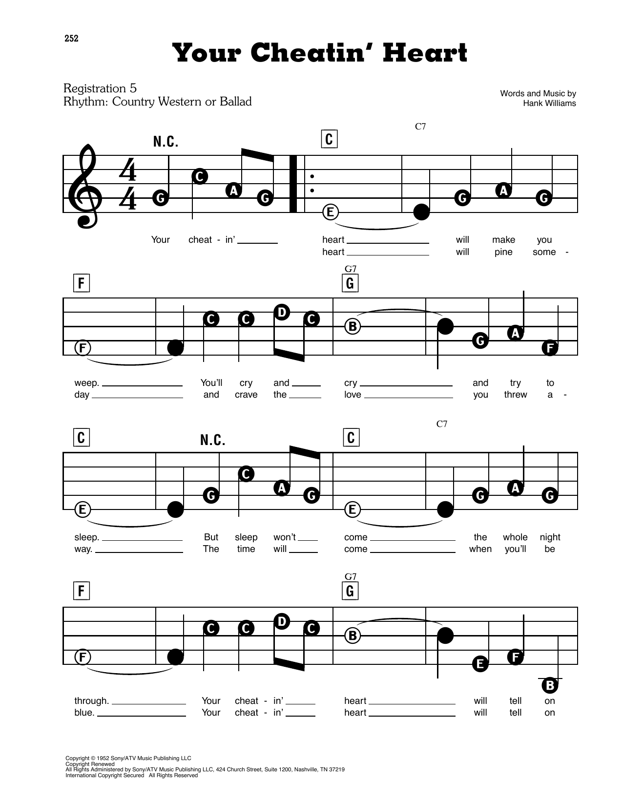Hank Williams Your Cheatin' Heart sheet music preview music notes and score for Lyrics & Piano Chords including 2 page(s)