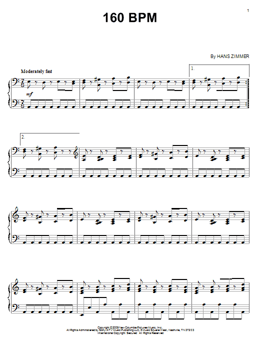 Download Hans Zimmer '160 BPM' Digital Sheet Music Notes & Chords and start playing in minutes