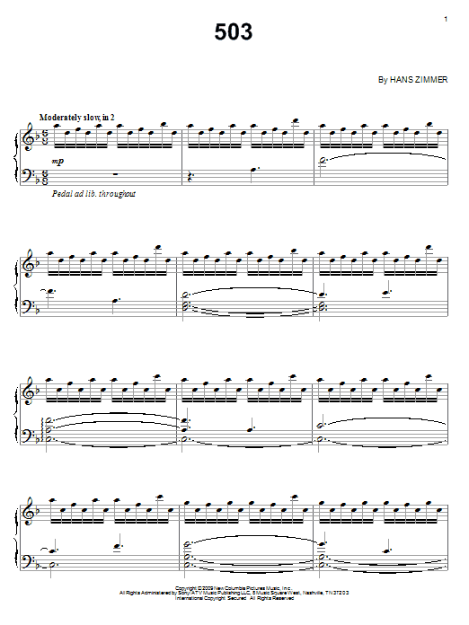 Download Hans Zimmer '503' Digital Sheet Music Notes & Chords and start playing in minutes