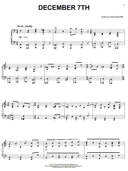 Download Hans Zimmer 'December 7th (from Pearl Harbor)' Digital Sheet Music Notes & Chords and start playing in minutes