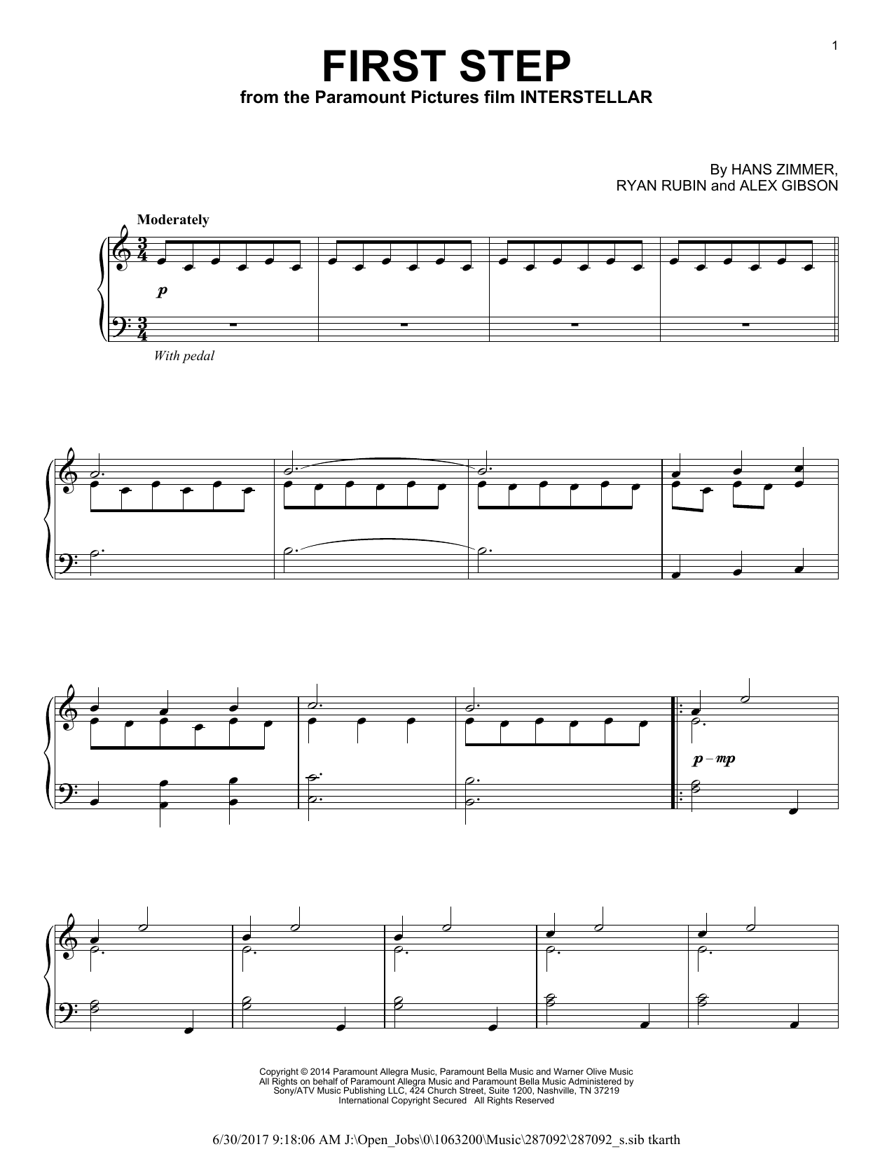 Download Hans Zimmer 'First Step' Digital Sheet Music Notes & Chords and start playing in minutes