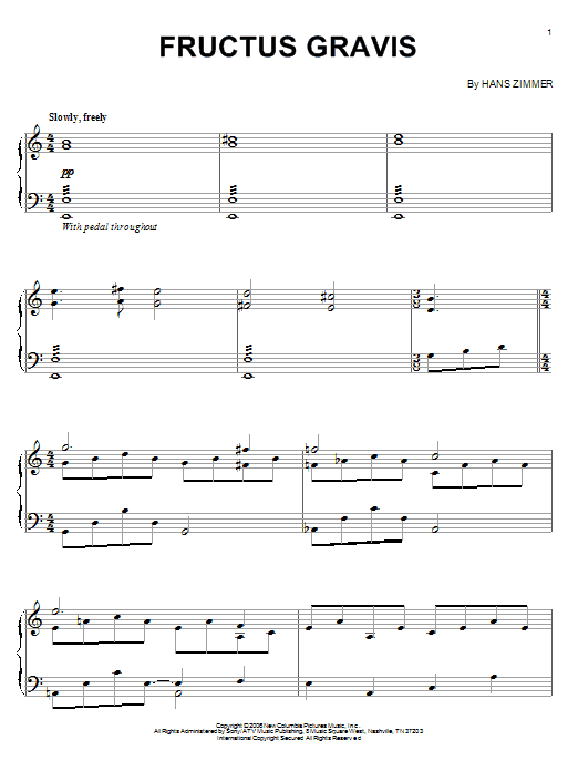 Download Hans Zimmer 'Fructus Gravis (from The Da Vinci Code)' Digital Sheet Music Notes & Chords and start playing in minutes