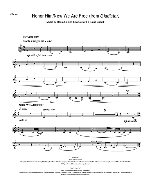 Download Hans Zimmer 'Honor Him/Now We Are Free (from Gladiator)' Digital Sheet Music Notes & Chords and start playing in minutes