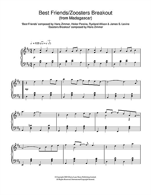 Download Hans Zimmer 'Madagascar (Best Friends/Zoosters Breakout)' Digital Sheet Music Notes & Chords and start playing in minutes