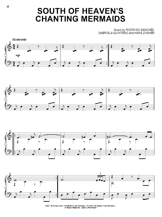 Hans Zimmer South Of Heaven's Chanting Mermaids sheet music preview music notes and score for Piano including 8 page(s)
