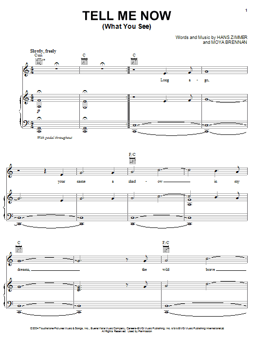 Download Hans Zimmer 'Tell Me Now (What You See) (from King Arthur)' Digital Sheet Music Notes & Chords and start playing in minutes