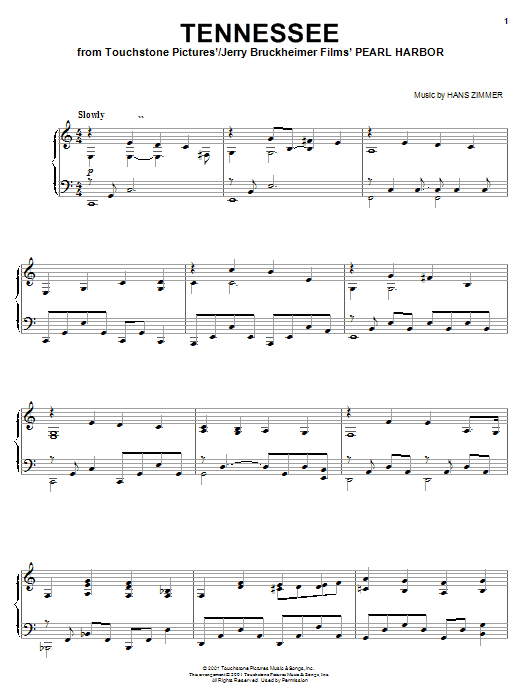Download Hans Zimmer 'Tennessee (from Pearl Harbor)' Digital Sheet Music Notes & Chords and start playing in minutes