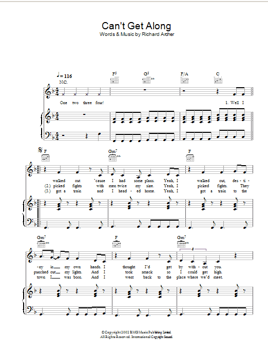Hard-Fi Can't Get Along (Without You) sheet music preview music notes and score for Piano, Vocal & Guitar including 4 page(s)