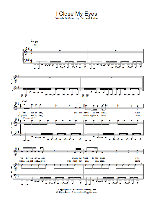 Hard-Fi I Close My Eyes sheet music preview music notes and score for Piano, Vocal & Guitar including 4 page(s)