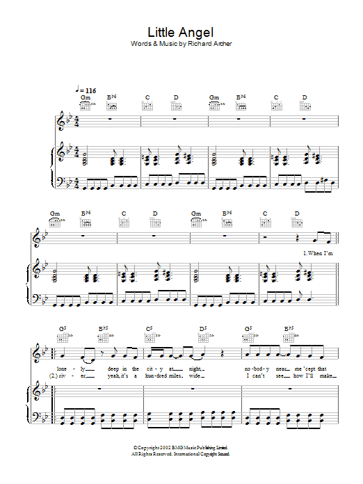 Hard-Fi Little Angel sheet music preview music notes and score for Piano, Vocal & Guitar including 4 page(s)